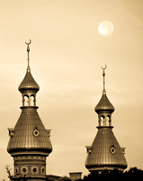 Moon set over University of Tampa